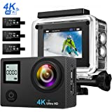 """4K Action Camera, [Selfie Stick Included] VicTsing HD Dual Display 16MP WiFi Waterproof Sports Camera 170 Degree Super Wide Lens 2.0"""" LCD with 3Pcs 1050mah Rechargeable Batteries, Charging Dock, 14 Accessories Kits, Black"""