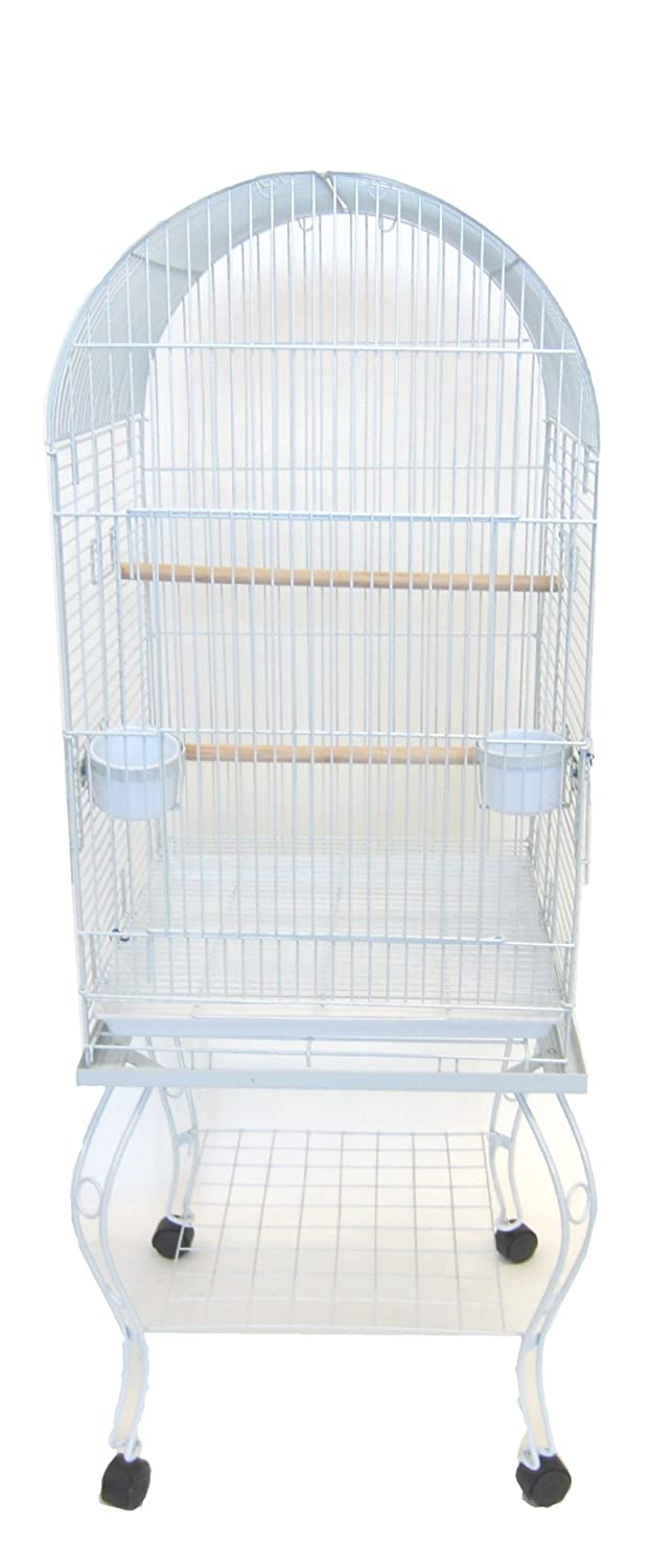 YML 20-Inch Dometop Parrot Cage with Stand, Antique Silver YML GROUP INC 600AAS