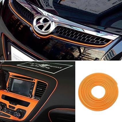 ORANGE 5M Flexible Trim For DIY Automobile Car Interior Exterior Moulding  Trim Decorative Line Strip