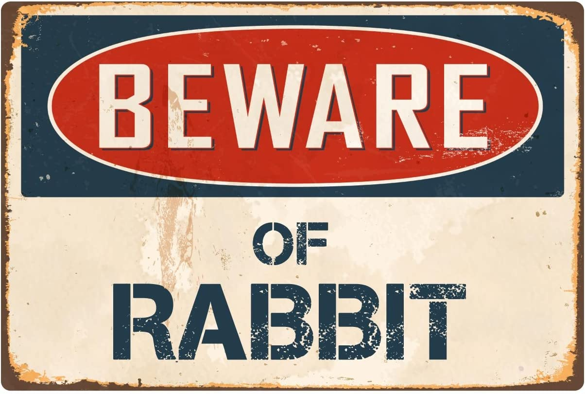 "Beware Of Rabbit 8/"" x 12/"" Vintage Aluminum Retro Metal Sign VS351"