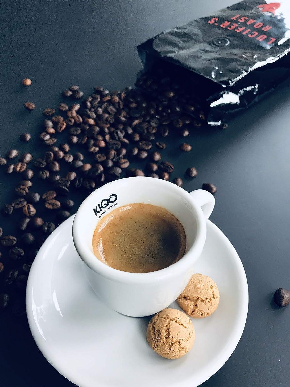 LUCIFERS ROAST Espresso de KIQO de Italia - 1kg café extremadamente fuerte - bajo en ácido - 100% Robusta - tostado a mano en lotes pequeños (grano de café ...