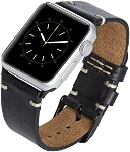 Venito Sarno Handmade Premium Leather Watch Band Compatible with The Newest Apple Watch iwatch Series 6 as Well as Series 1,2, 3, 4, 5 (Rustic Black w/Black Stainless Steel Hardware, 42mm-44mm)