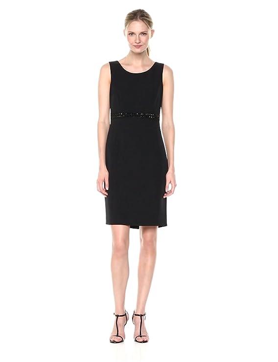 1067de00 Kasper Women's Stretch Crepe Sheath Dress W/Embellished Waist at Amazon  Women's Clothing store: