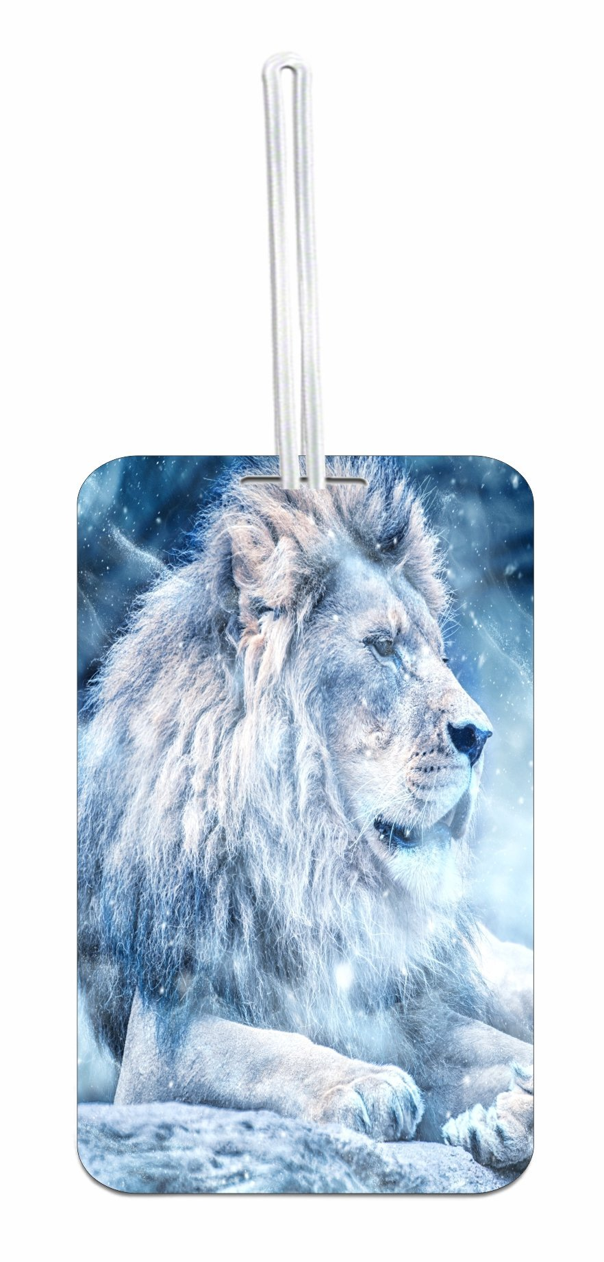 Lion in Snow Frost Design School Bag/Backpack ID Tag with Custom Reverse - Customize Yours Now