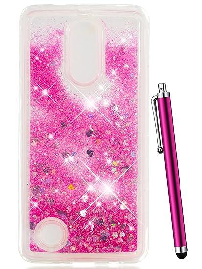 LG Aristo Case for Girls, LG Fortune Case,LG Phoenix 3 Case, LG K8 2017  Case,LG LV3 Case,CAIYUNL Liquid Glitter Sparkle Clear TPU Slim Thin Cute