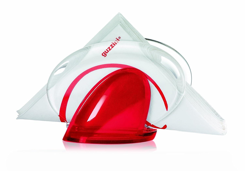 Guzzini 22430065 Porte-Serviettes de Table Rouge Transparent 11 x 15,5 x 8,5 cm