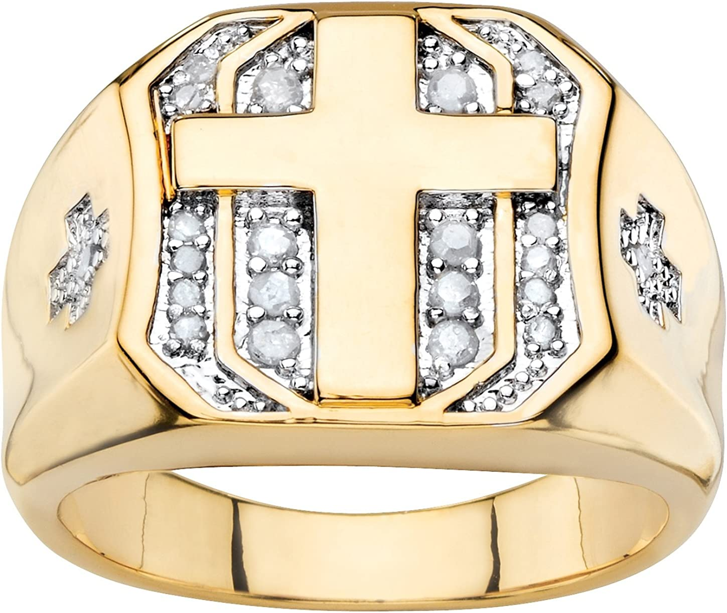 Palm Beach Jewelry Men's 14K Yellow Gold Plated Round Genuine Diamond Cross Ring (1/5 cttw, I Color, I3 Clarity)