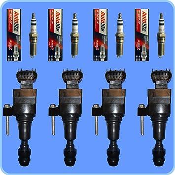 Nueva AC DELCO d517 a Bobina de encendido Set (4) + 4 Autolite Bujías de iridio xp5263: Amazon.es: Coche y moto