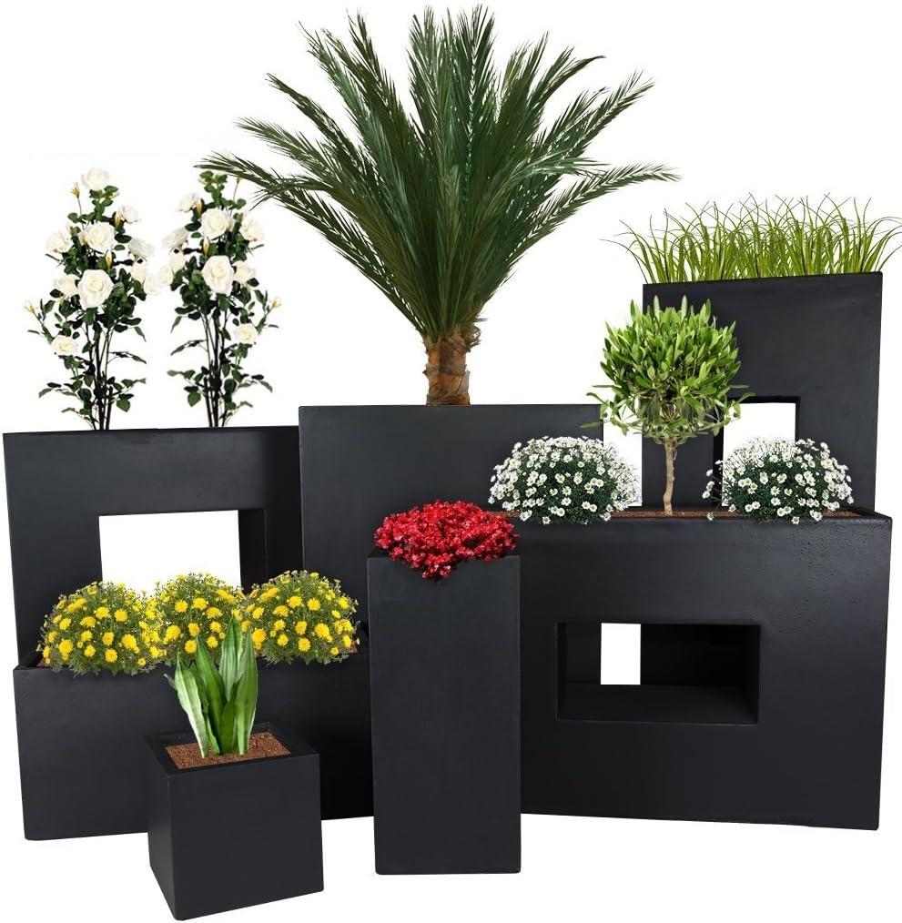 Pflanzwerk® Maceta Cube Antracita 23x23x23cm *Resistente a Las heladas* *Protección UV* *Calidad Europeo*