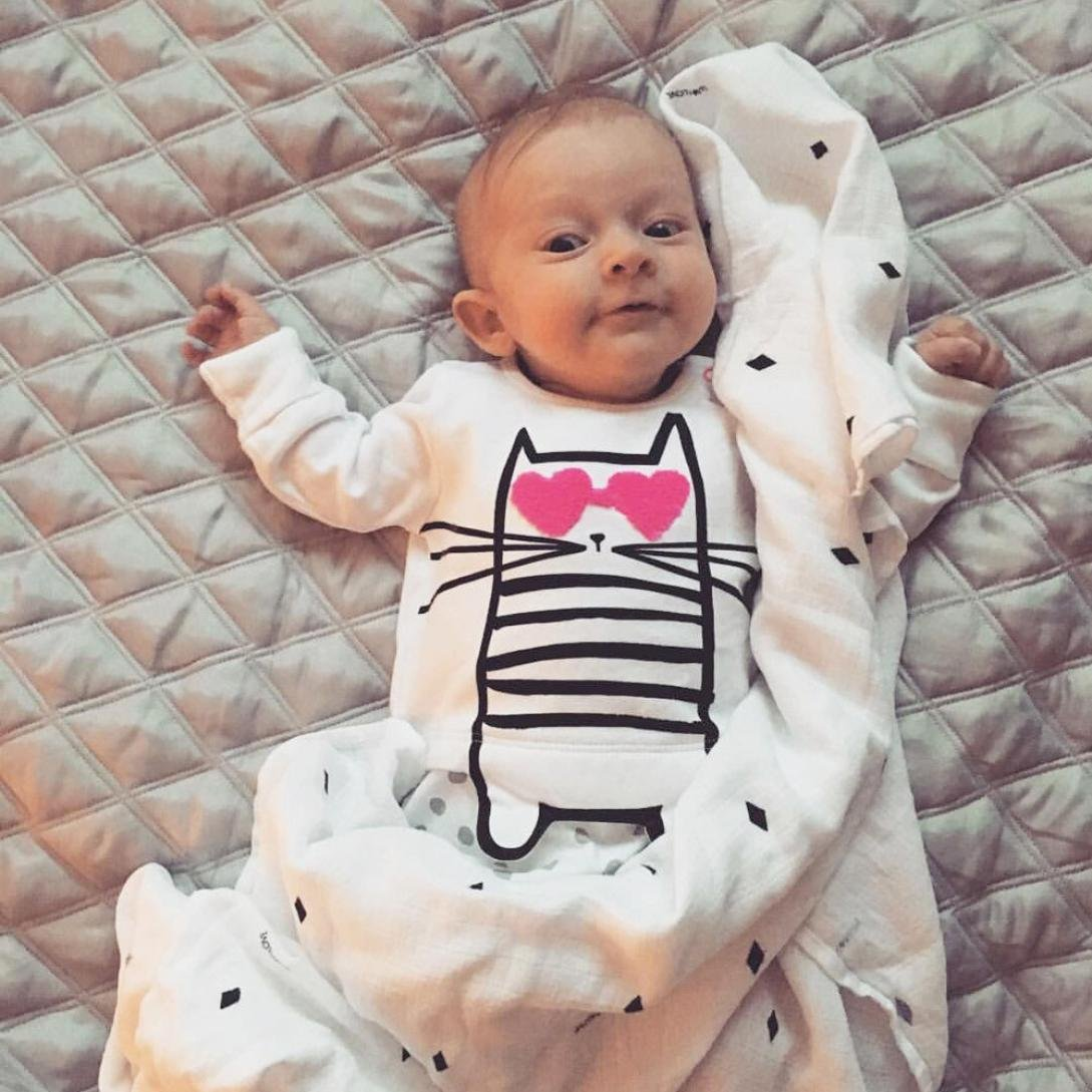 Ecurson Newborn Baby Boys Girls Cartoon Cat Heart Dot Print Romper