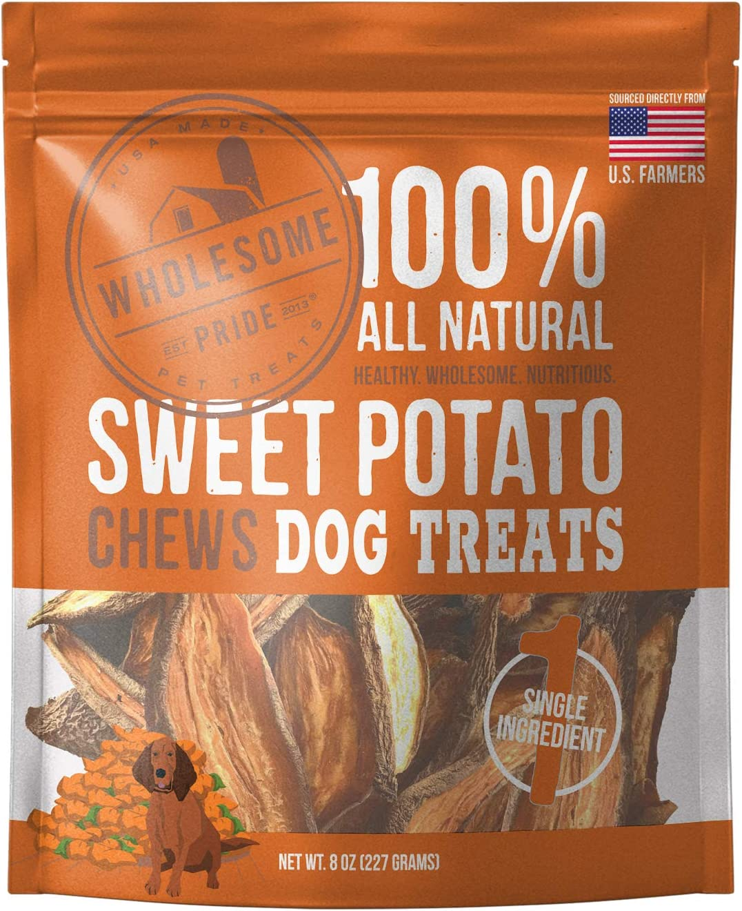 Wholesome Pride Sweet Potato Chews - All Natural Healthy Dog Treats - Vegan, Gluten and Grain-Free Dog Snacks, 8 Ounce