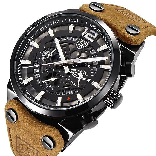 2aa78095e42 Benyar Sport Mens Watches Military Skeleton Chronograph Quartz Man Outdoor  Large dial Watch Army Men s Watch Bracelet Brown Strap Watch  Amazon.co.uk   ...