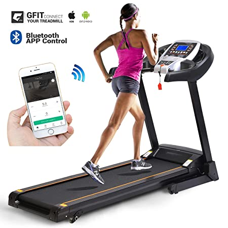 Jaketen Electric Folding Treadmill with Smartphone APP Control Incline Motorized Fitness Walking Running Machine with Soft Drop System
