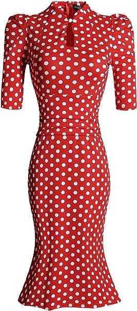 Jeansian Mujer Vestido De Fiesta Coctel Women Cocktail Party Dress WKD204 Red XXS