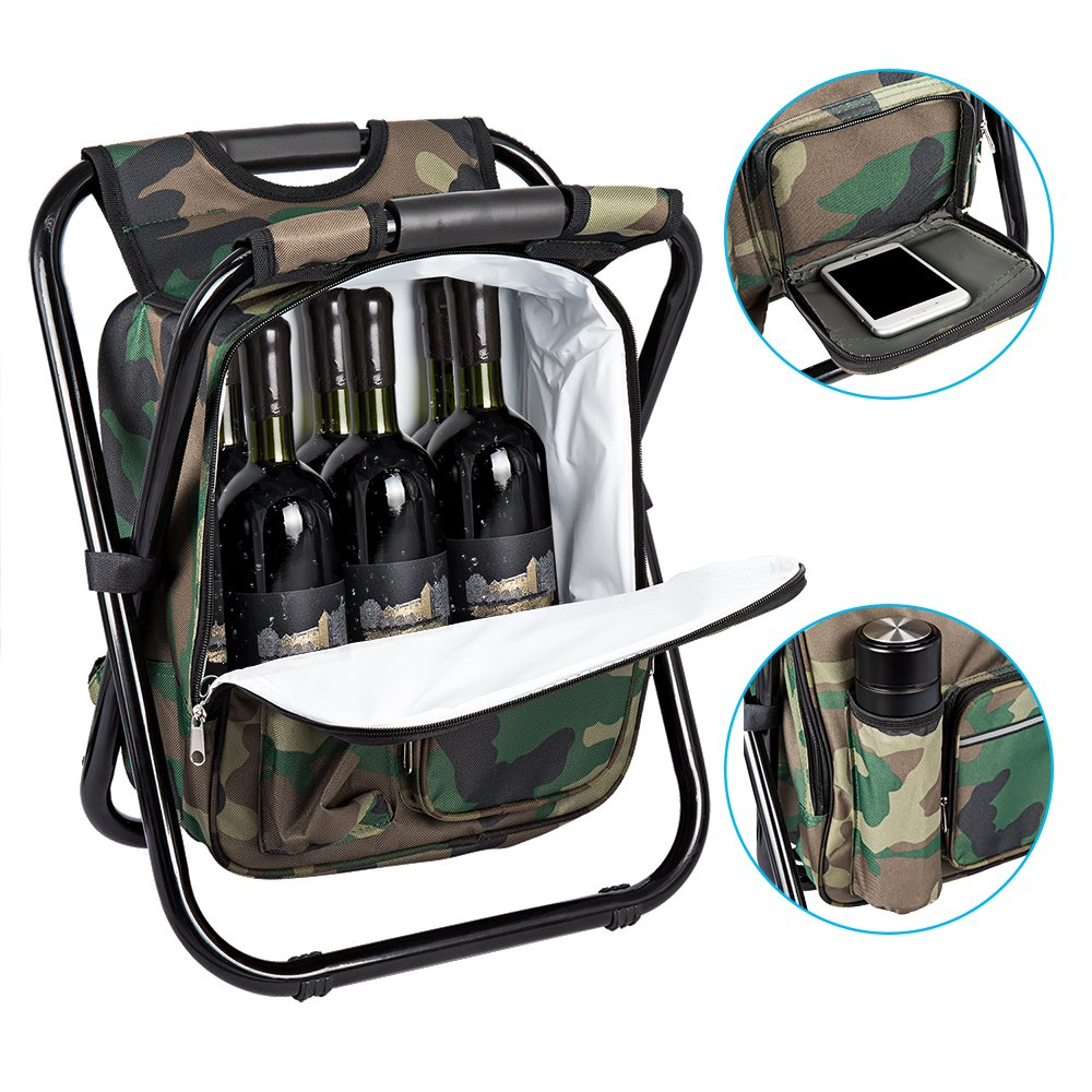 Bright starl Multifunction Folding Cooler and Stool Backpack Picnic Bag, Hiking Camouflage Seat Table Bag Camping Gear for Outdoor Indoor Fishing Travel Beach BBQ by Bright starl (Image #3)