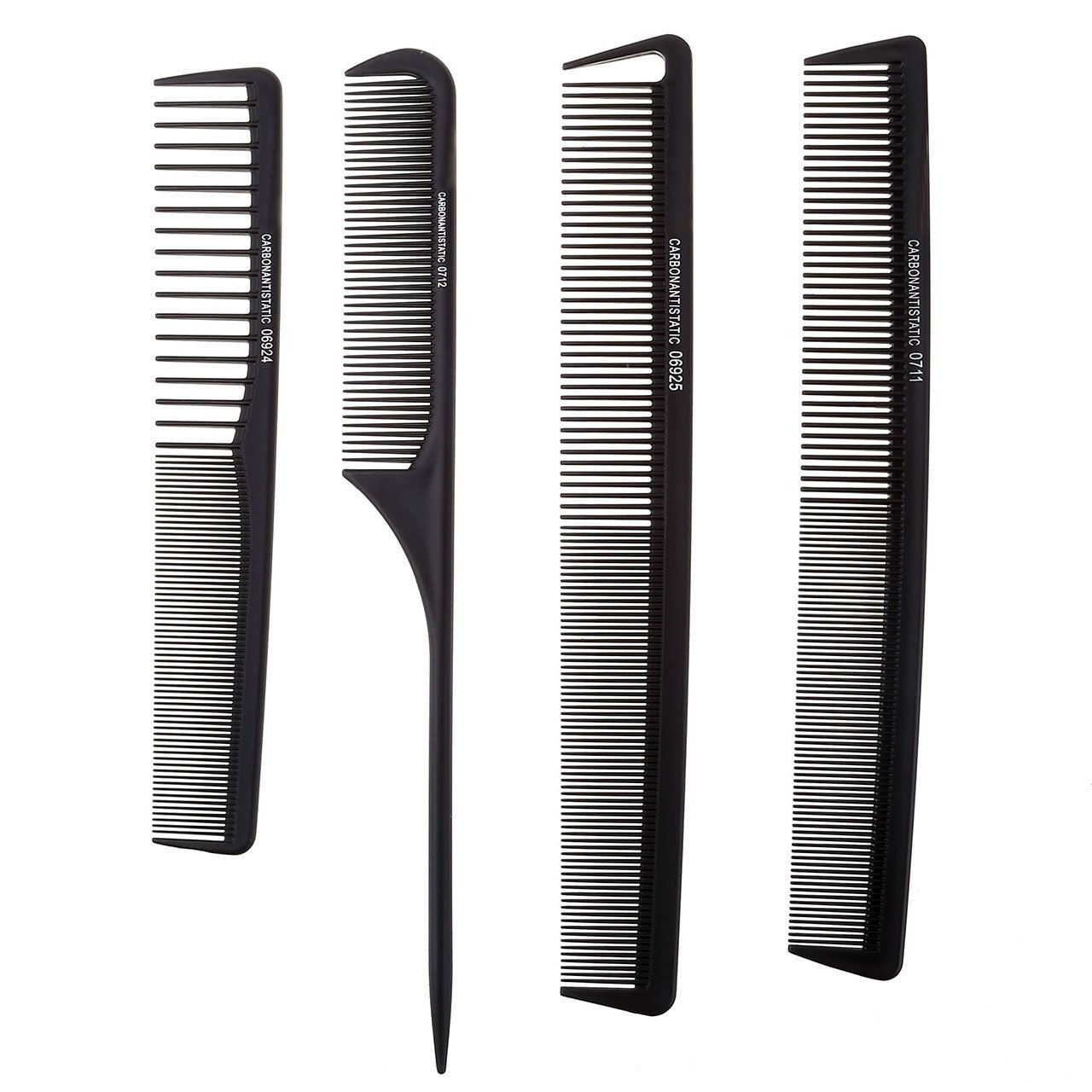 Faleto Black Pro Salon Hair Comb Set Plastic Barbers Cutting Combs Set