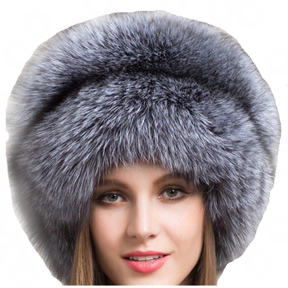 Valpeak Women's Genuine Fox Fur Hat with Tail Russian Style Protect Ears Winter Mongolian Hats (Silver) by Valpeak