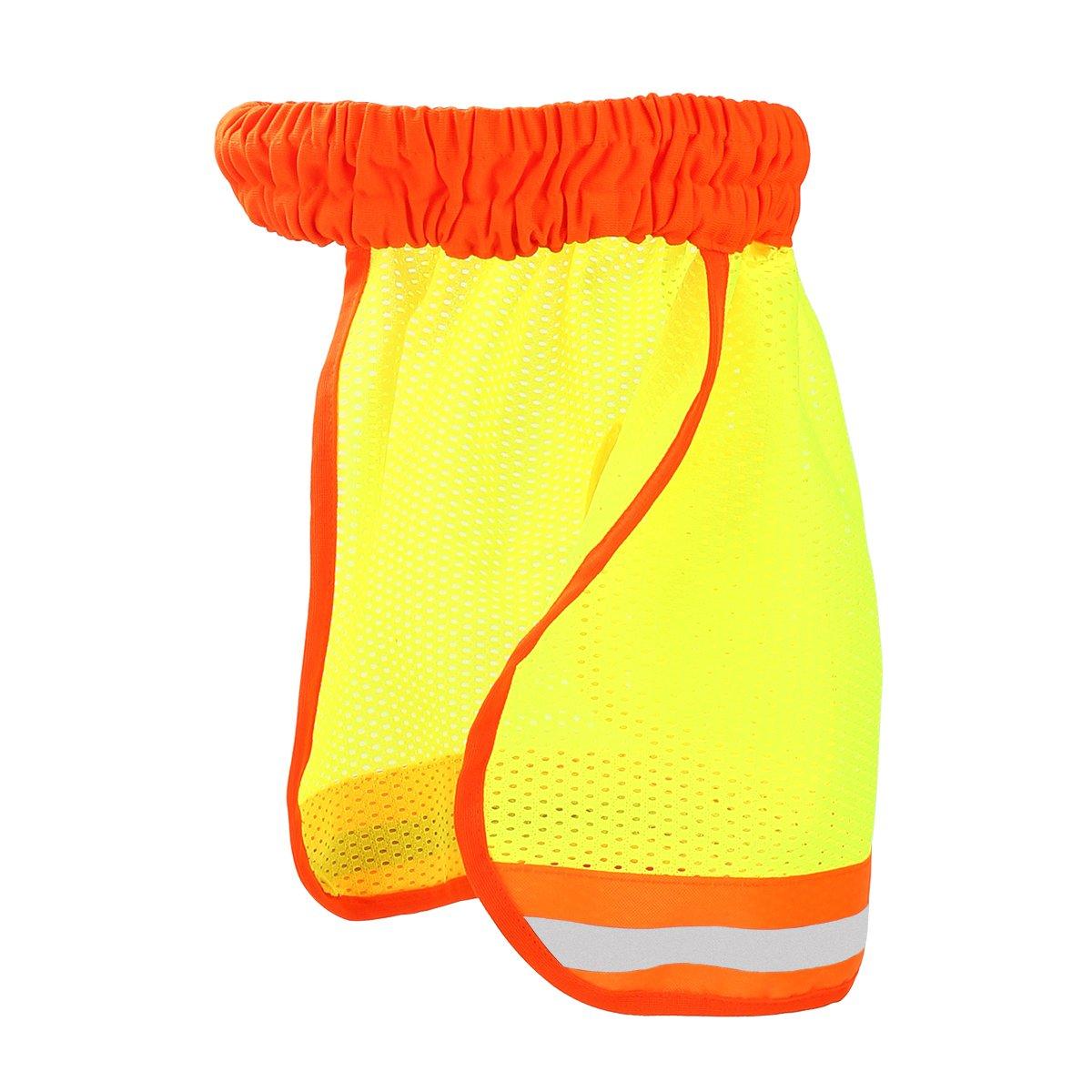 Donnagelia - Protector de cuello reflectante para sombrero duro, casco de seguridad con malla transpirable de alta visibilidad, amarillo