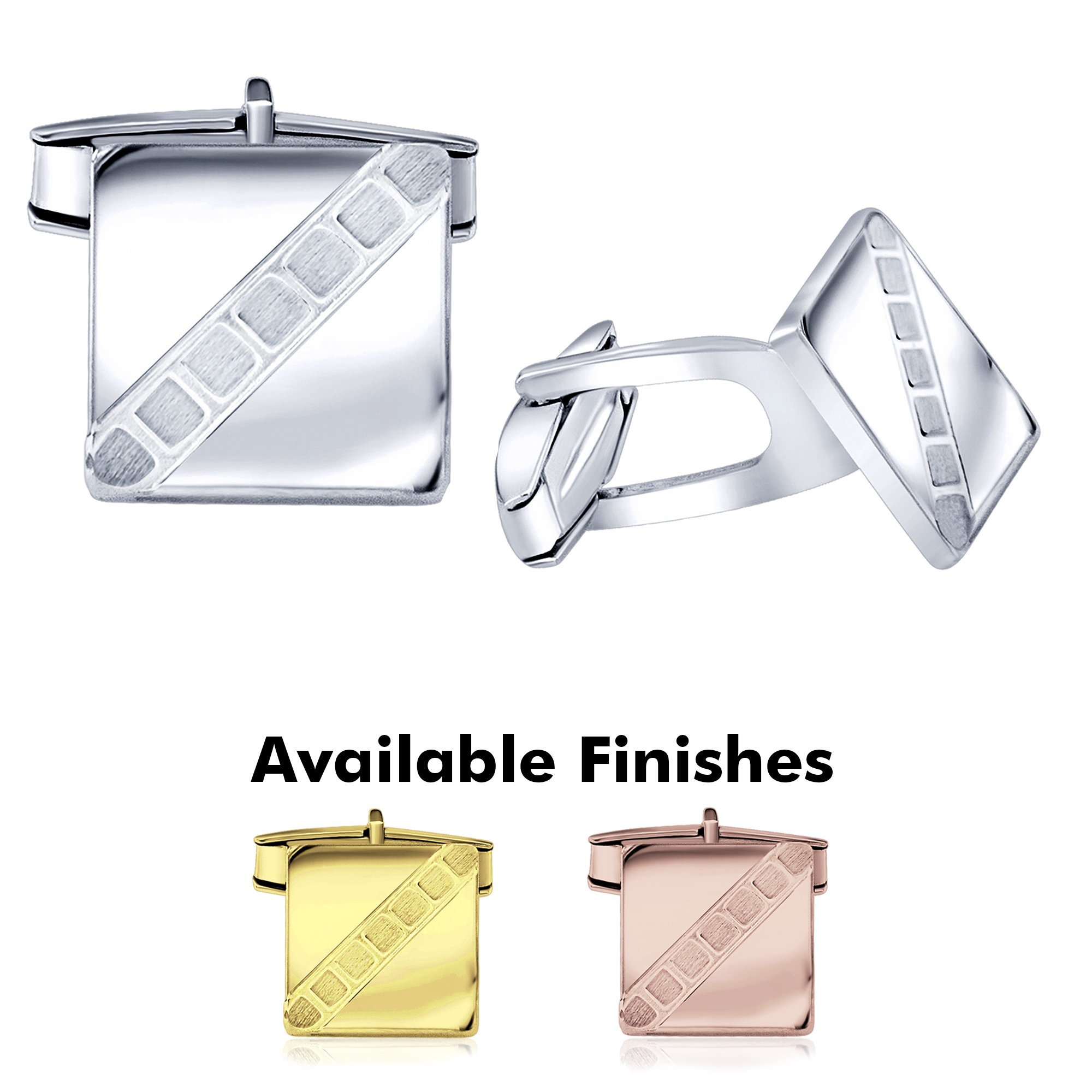 Sterling Manufacturers Men's Sterling Silver .925 Square Cufflinks with Satin Finish Check Accents, Engravable, 14mm. By by Sterling Manufacturers (Image #1)