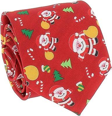 SHIPITNOW Corbata de Navidad Jacquard Roja - Corbata Papá Noel y ...