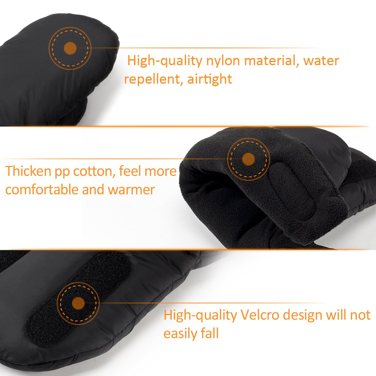 Biubee Stroller Hand Muff Winter Warm Pram Mitten Gloves for Parents and Caregivers Waterproof Anti-Freeze Black by Biubee (Image #2)