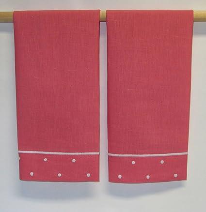 SARO rosa bordado toallas de mano con Blanco puntos frontera (Juego de 2)
