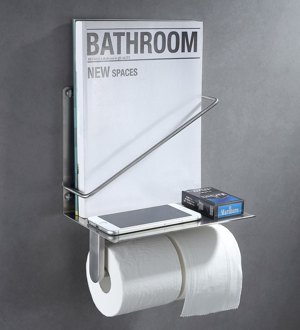 Double Toilet Paper Holder with Magazine Rack, Angle Simple SUS304 Stainless Steel Magazine and Tissue Holder with Phone Wet Wipe Shelf Tissue Roll Hanger with Book Magazine Holder Brushed Nickel