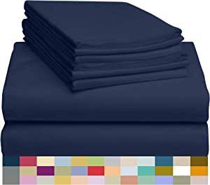 "LuxClub 6 PC Sheet Set Bamboo Sheets Deep Pockets 18"" Eco Friendly Wrinkle Free Sheets Hypoallergenic Anti-Bacteria Machine Washable Hotel Bedding Silky Soft - Navy Queen"