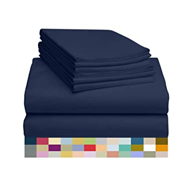 LuxClub 6 PC Sheet Set Bamboo Sheets Deep Pockets 18  Eco Friendly Wrinkle Free Sheets Hypoallergenic Anti-Bacteria Machine Washable Hotel Bedding Silky Soft - Navy Queen