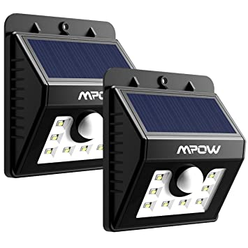 Mpow Solar Lights, 2 Pack 8 LED Bright Solar Powered Security Lights With  Motion
