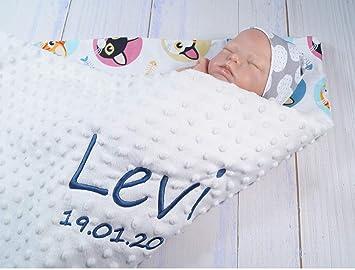 900123 Babydecke mit Namen und Datum bestickt MINKY Baumwolle F/üllung 75 x 100 cm, Beige - Katzen