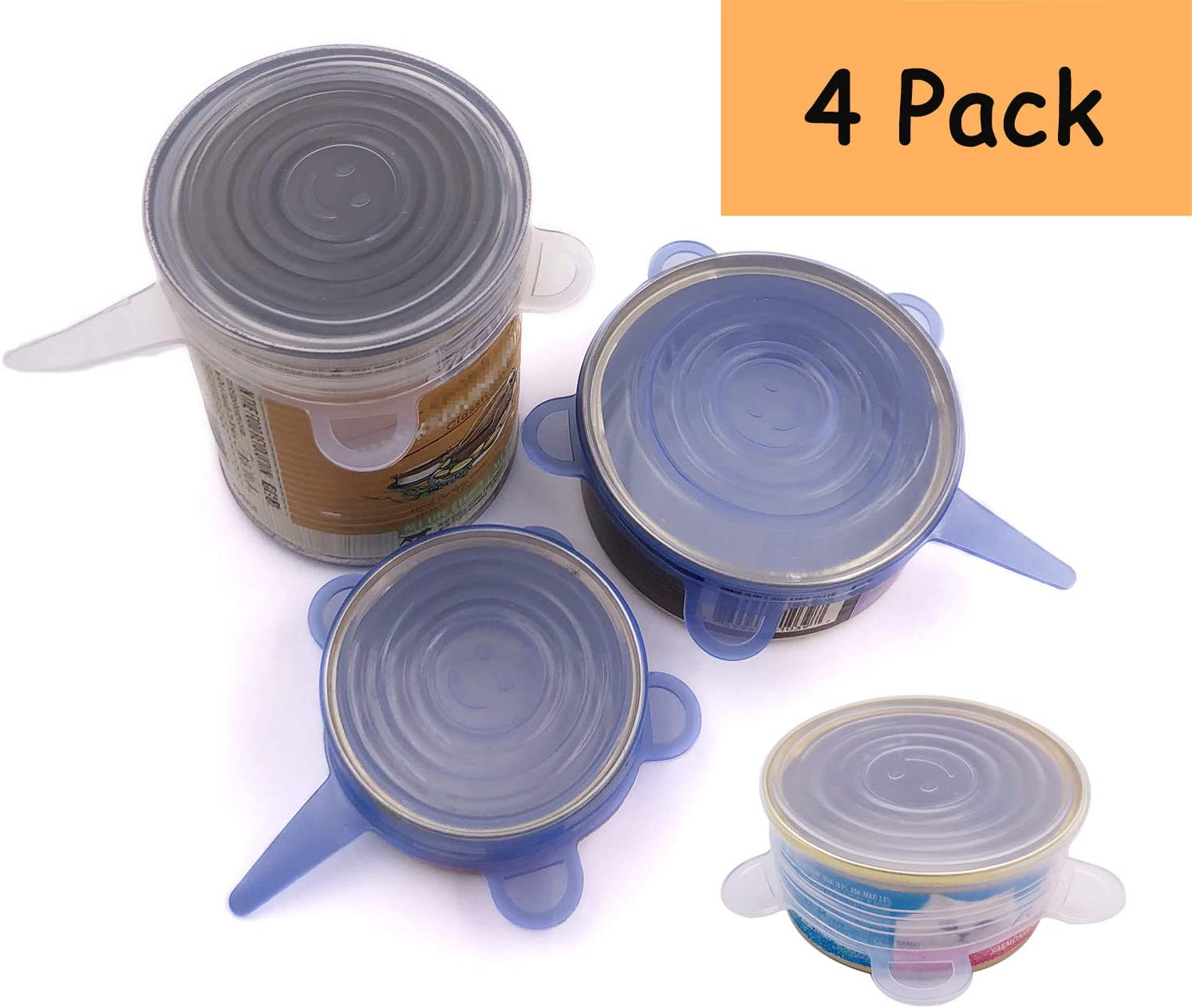 Comtim Pet Food Can Lids, Silicone Stretch Can Lids Covers for Dog Cat Food, Reusable Expandable Universal Size Fit Most Cans and Jars