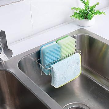 Silver Stainless Steel Sponges Holder Adhesive Sink Sponge Soap Drain Rack T7T7