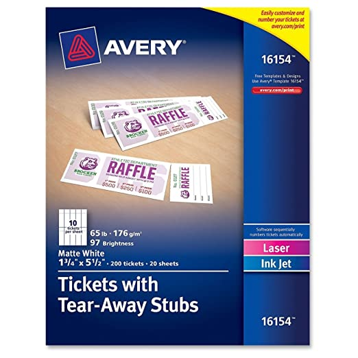 amazoncom avery tickets with tear away stubs 175 x 55 matte white pack of 200 16154 prime pantry