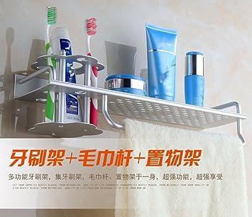ZYZX Espacio Multifuncional Porta Cepillo de Dientes de Aluminio una Taza Taza Racks secador de Pelo secador de Pelo Rack,Punzón con Bandeja Porta Cepillo ...