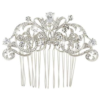 EVER FAITH® Silver-Tone CZ Austrian Crystal Art Deco Bow Bridal Hair Comb Clear N04184-1 OVJvaRwAZO