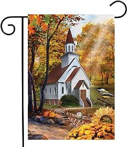 Briarwood Lane Autumn Church Sunset Garden Flag Fall Scene 12.5