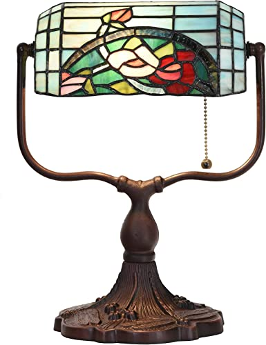 Bieye L10760 Rose Flower Tiffany Style Stained Glass Banker Desk Lamp, 9 W x 15 H, Red Green