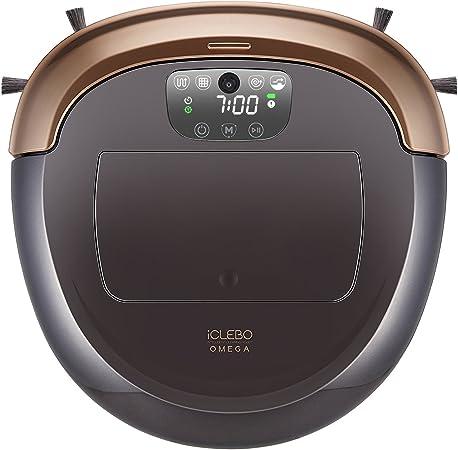 iClebo Omega Robot Aspirador Inteligente Modo de Turbo, Modo escalado Regulable, trapeado húmedo y Filtro HEPA - Negro/Oro: Amazon.es: Hogar