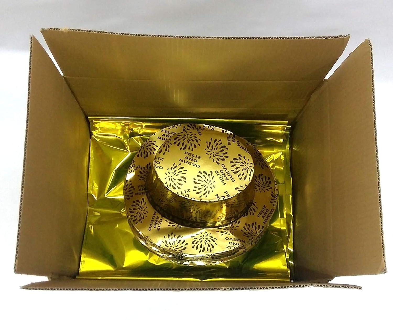 FIESTADEKOR Pack 10 Bolsas COTILLÓN Oro Metalizado 5 ARTÍCULOS Calidad  Extra (Gorro Feliz AÑO). (10 Bolsas)  Amazon.es  Juguetes y juegos dd5be075d37