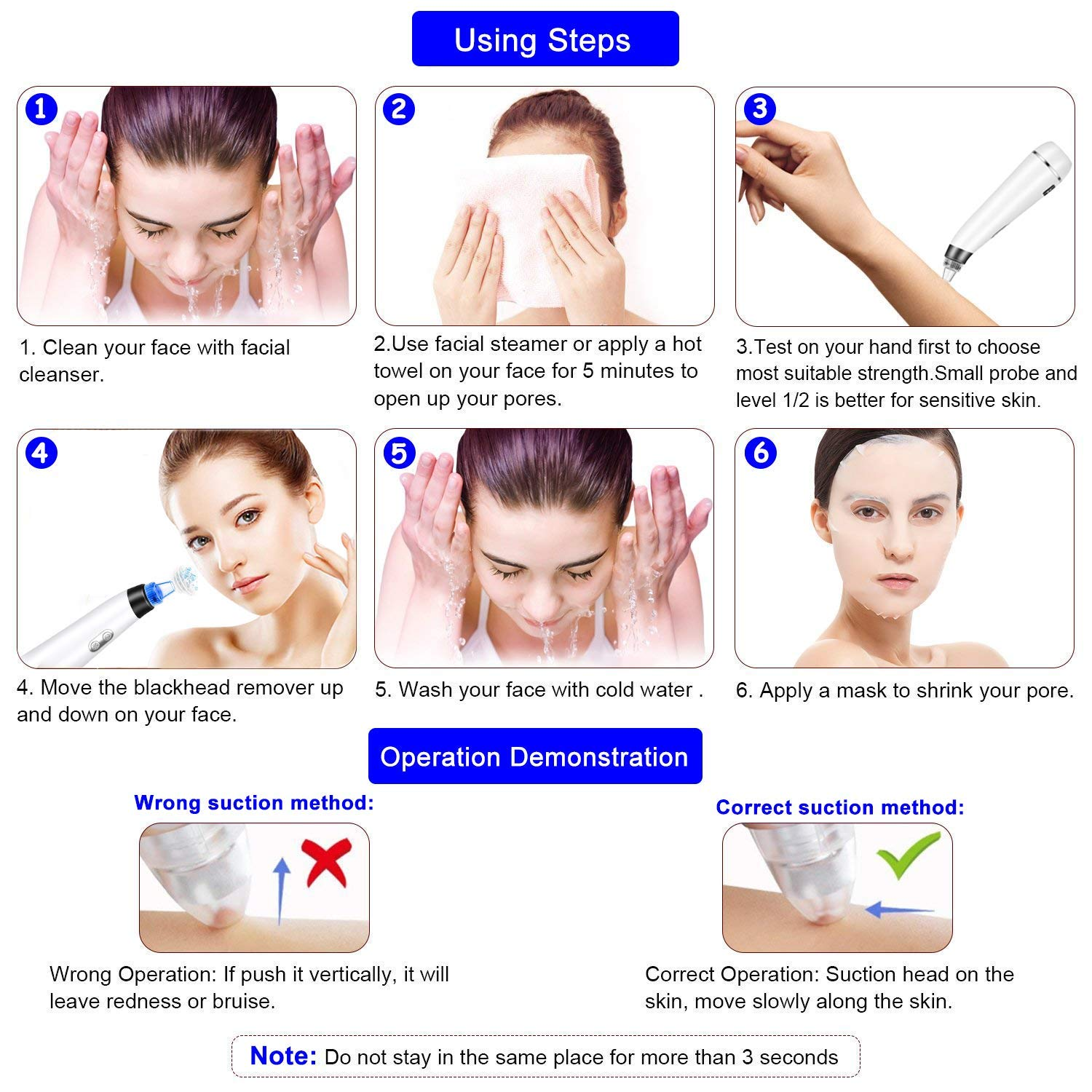 ZCPlus Blackhead Remover Skin Facial Vacuum Pore Cleaner Acne Comedone Extractor USB Rechargeable Pore Sucker Acne Extractor Tool for Beauty Travel Business Trip Gift Man and Women