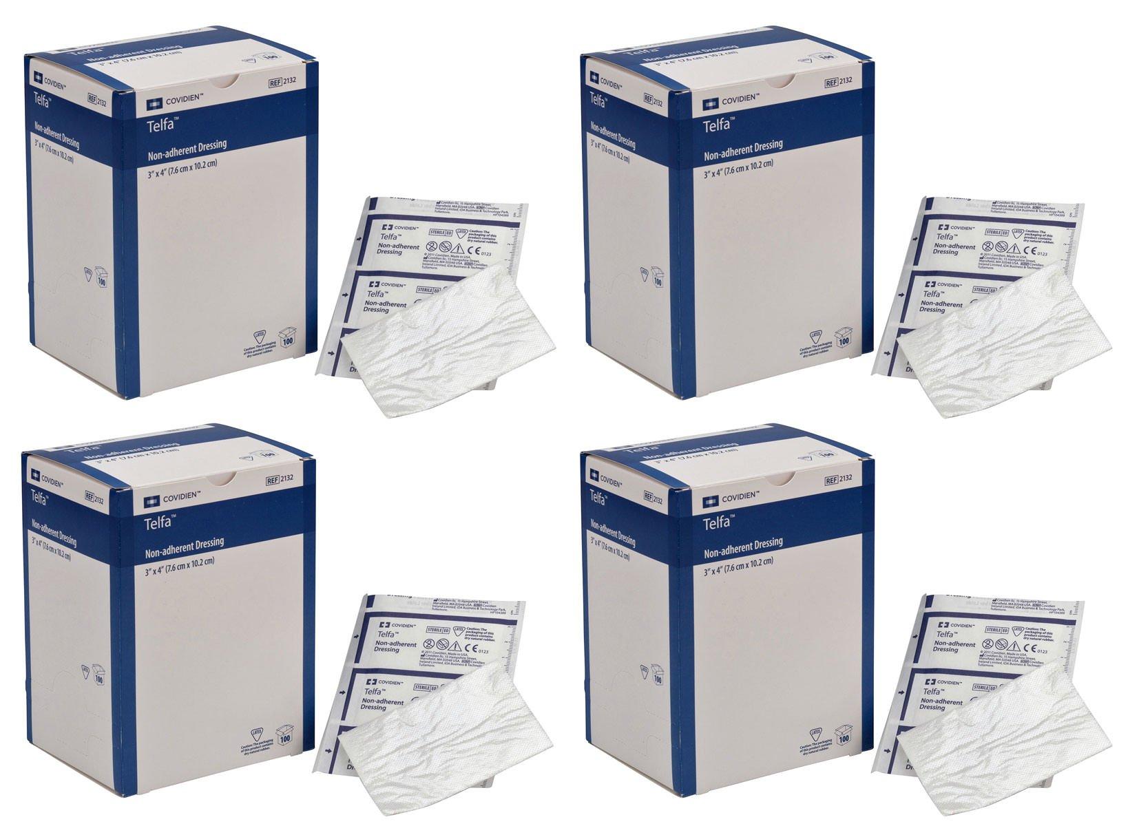 COVIDIEN SLDLJLFS 2132 Telfa Non-Adherent Dressing, 3'' x 4'' (Pack of 100) (4 Pack)