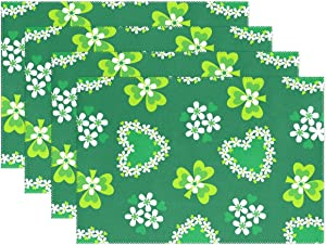 WIHVE St Patrick's Day Placemats Set of 6 Green Clover Shamrock Flowers Floral Kitchen Dining Table Mats Heat Insulation Stain Resistant Washable Polyester Placemat
