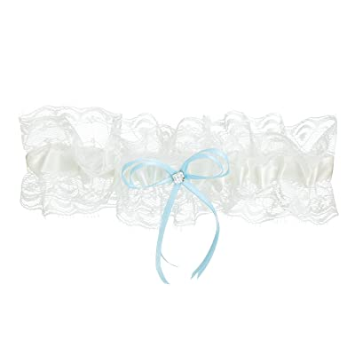ABaowedding Vintage Lace Bridal Wedding Garters with Bowknot and Rhinestone
