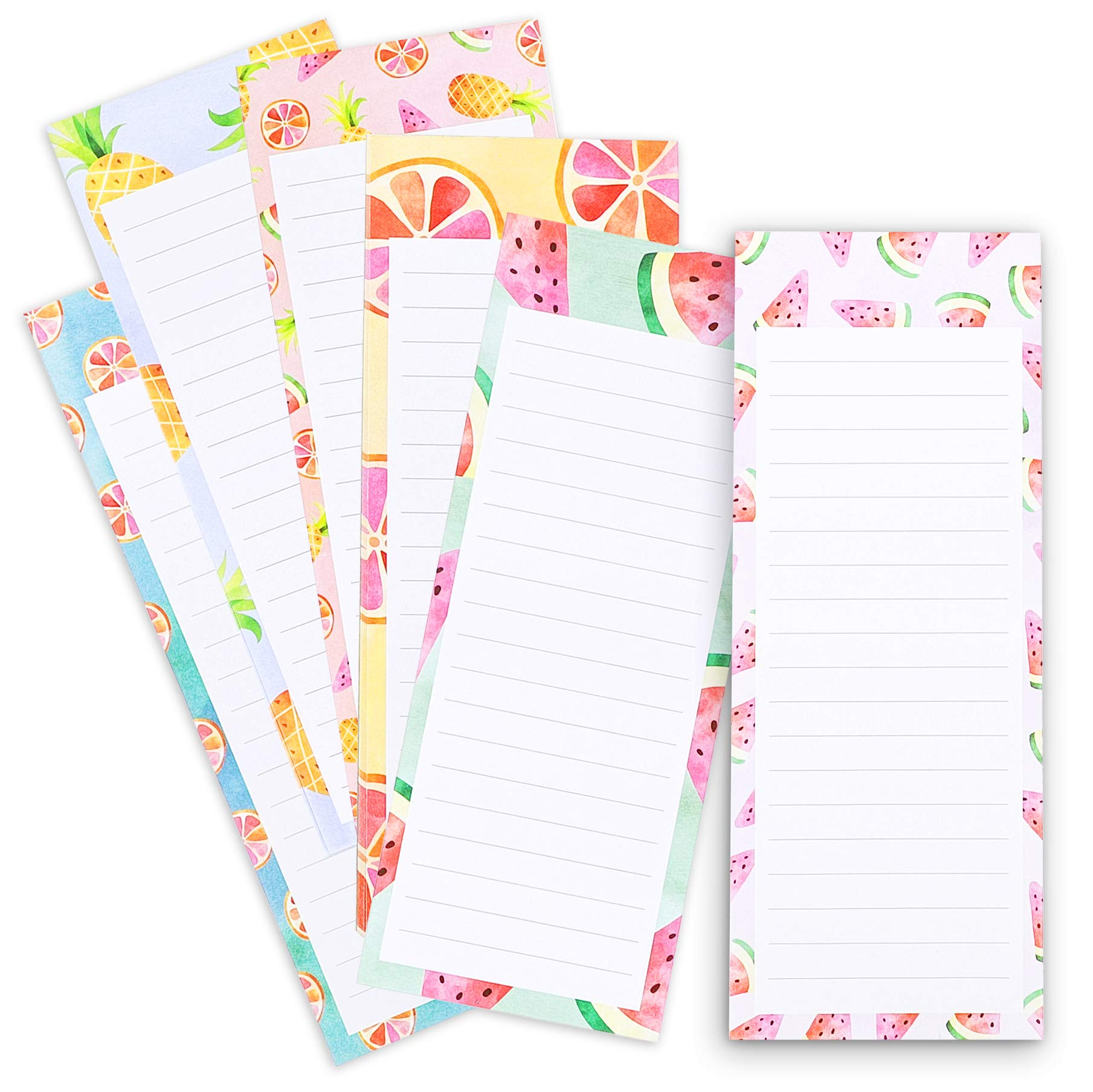Juvale 6-Pack To Do List – Magnetic Notepads for Fridge, Grocery Shopping, and Reminders, Colorful Fruit Designs, 60 Sheets Per Memo Pad, 3.5 x 9 Inches
