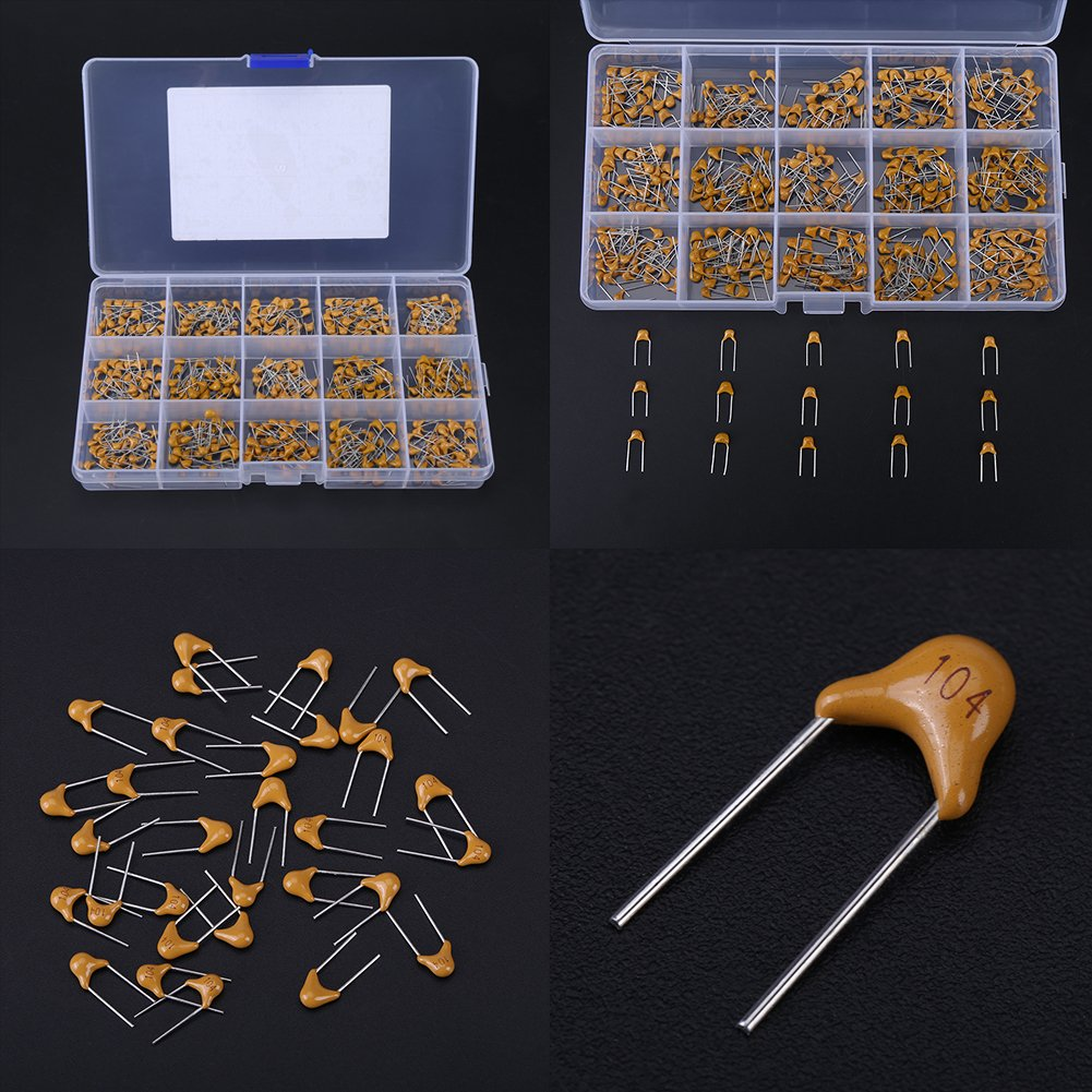 15 Value Multi-layer Humidity Resistance Ceramic Capacitors Kit with Box 10pF 1000nF Ceramic Capacitor