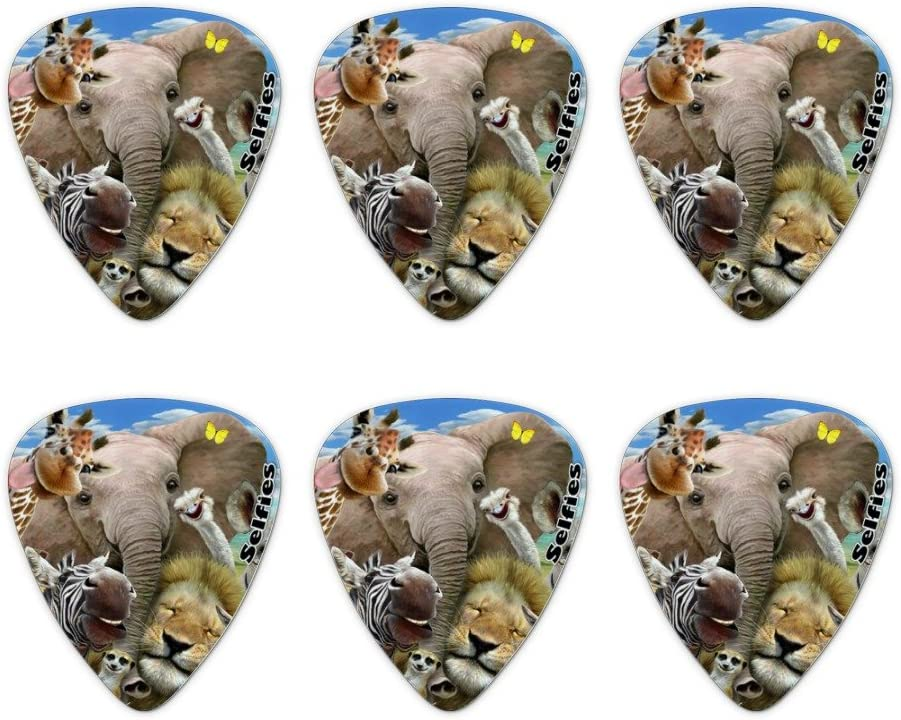 Africa Animals Selfie Giraffe Elephant Lion Zebra Novelty Guitar Picks Medium Gauge Set of 6