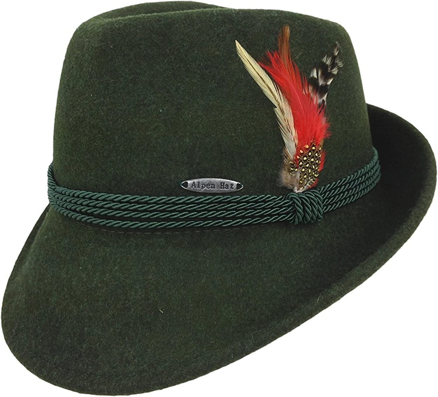 Essence of Europe Gifts Mens Austrian 100/% Pure Wool Hat with Feather and Polyester Sweat Band