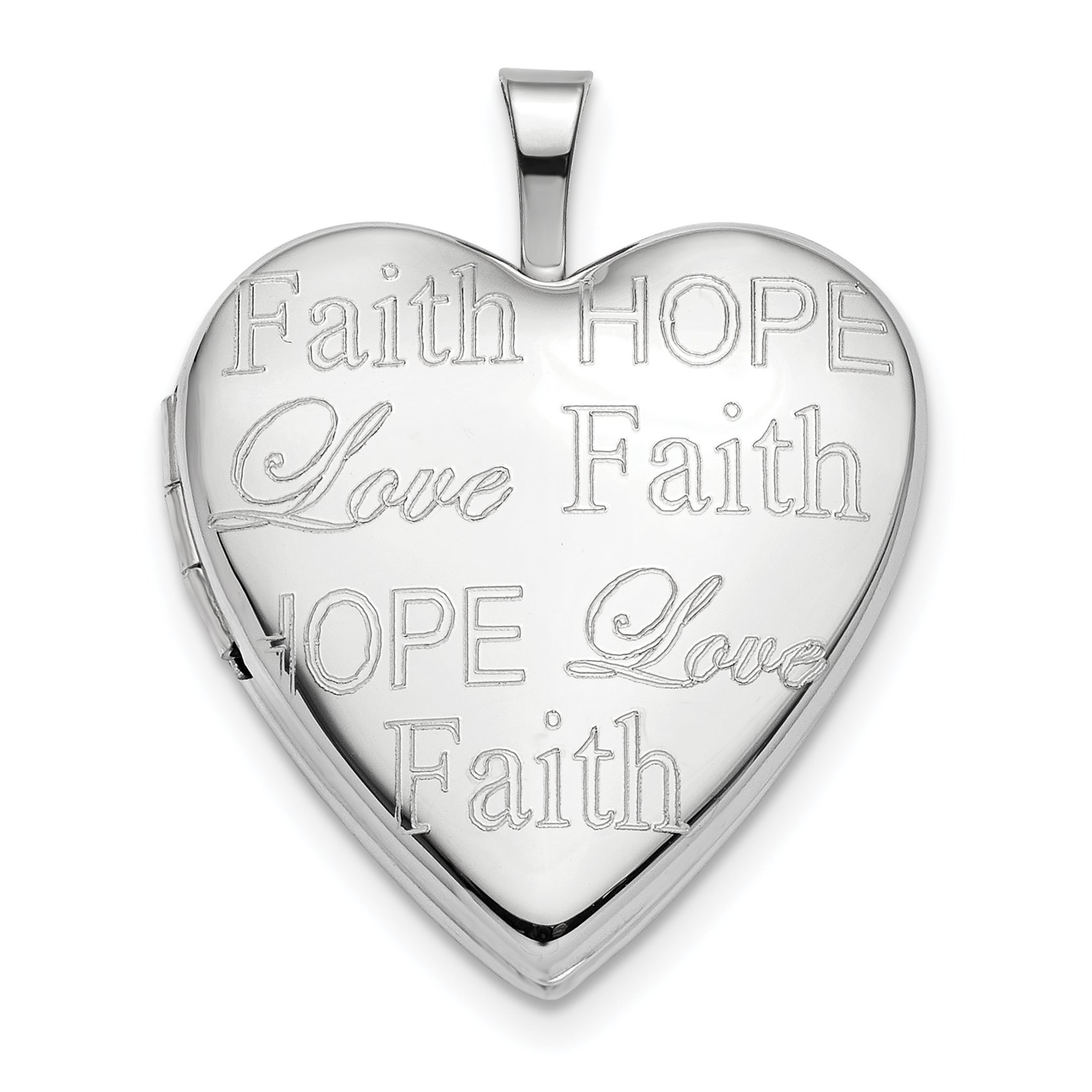 ICE CARATS 14k White Gold 20mm Love Faith Hope Heart Photo Pendant Charm Locket Chain Necklace That Holds Pictures Inspiration Fine Jewelry Gift Set For Women Heart