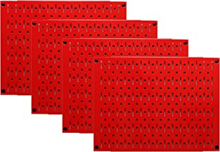 product image for Pegboard Wall Organizer Tiles - Wall Control Modular Red Metal Pegboard Tiling Set - Four 12-Inch Tall x 16-Inch Wide Peg Board Panel Wall Storage Tiles - Easy to Install (Red)